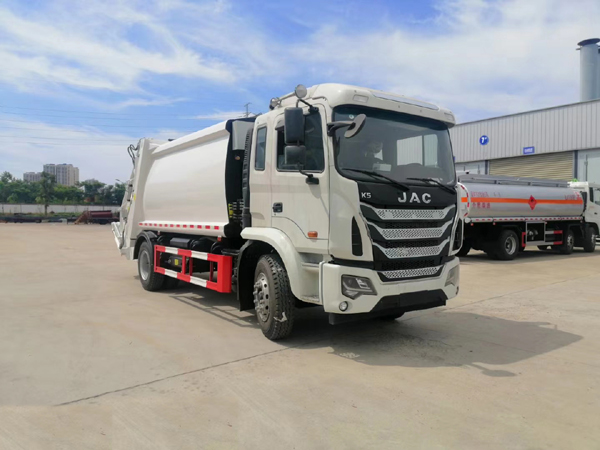 JAC 12cbm Compression Compactor Garbage Truck Suitable For 120 or 240 or 260 Liter Square or 300L Circular Bin To transport Waste or Trash