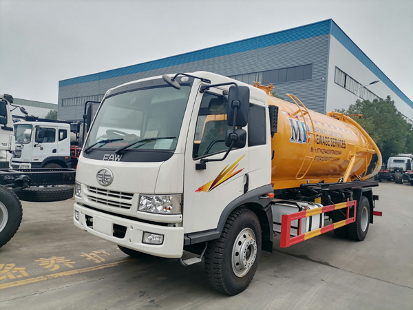 FAW 10m3 to 12m3 160hp Vacuum Sewage Fecal Suction Truck